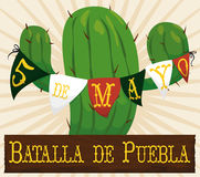 Cactus Decorated with Pennants for Mexican Cinco de Mayo Celebration, Vector Illustration vector illustration