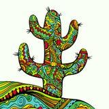 Cactus decorato funky illustrazione di stock