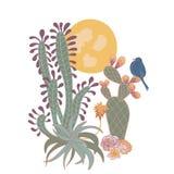 Cactus del deserto di Sunsert con la stampa di disposizione dell'uccello illustrazione vettoriale