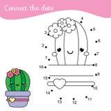 Cactus del fumetto Connetta i puntini Punto da punteggiare da attivit? di numeri per i bambini ed i bambini Gioco educativo dei b illustrazione di stock