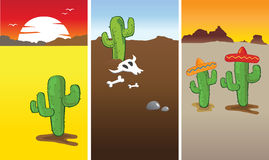 Cactus and Desert. Vector illustration showing 3 various desert with cactus Stock Illustration