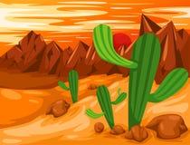 Cactus in desert. Illustration of landscape cactus in desert Royalty Free Stock Photos