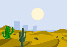 Cactus on Desert Royalty Free Stock Photography