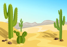 Cactus in the desert. natural background. Vector illustration Royalty Free Stock Images