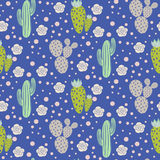 Cactus desert vector seamless pattern. Green and grey nature fabric print texture. Green gray cacti on blue for wallpaper and textile apparel royalty free illustration