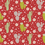 Cactus desert vector seamless pattern. Green and grey nature fabric print texture. Green mint cacti on red for wallpaper and textile apparel Stock Image