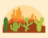 Cactus in desertscapelandschap royalty-vrije illustratie