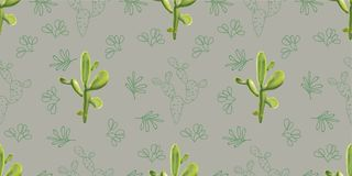 Cactus design. Seamless pattern. realistic and drawing style ,Ve Royalty Free Stock Photography