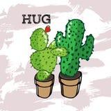 Cactus deux vert étreignant dans un pot illustration stock