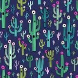 Cactus di fioritura svegli su fondo blu scuro royalty illustrazione gratis