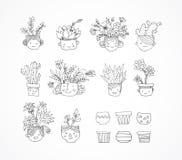 Cactus dibujado mano linda fijado con las caras Fotos de archivo libres de regalías