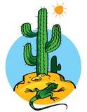 Cactus e lucertola Fotografie Stock