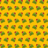 Cactus - emoji pattern 21. Pattern of a emoji cactus that can be used as a background, texture, prints or something else royalty free illustration