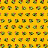 Cactus - emoji pattern 34. Pattern of a emoji cactus that can be used as a background, texture, prints or something else stock illustration