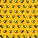 Cactus - emoji pattern 65. Pattern of a emoji cactus that can be used as a background, texture, prints or something else stock illustration