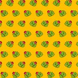 Cactus - emoji pattern 16. Pattern of a emoji cactus that can be used as a background, texture, prints or something else stock illustration