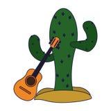 Cactus en akoestische gitaar stock illustratie