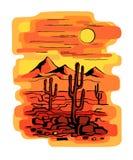 Cactus en la puesta del sol ilustración del vector