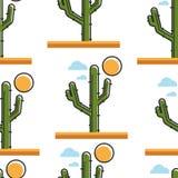 Cactus en postre debajo de la planta inconsútil del modelo del sol con los puntos ilustración del vector