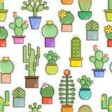 Cactus en succulents vectorlijn naadloos patroon Exotische bloementuinsilhouetten Het kleurrijke ontwerp van aardcactussen royalty-vrije illustratie