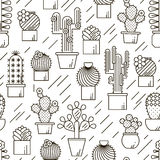 Cactus en succulents vectorlijn naadloos patroon Exotische bloementuinsilhouetten Het overzichtsontwerp van aardcactussen stock illustratie