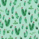 Cactus en van de slangen horizontaal naadloos waterverf patroon op lichtgroene achtergrond vector illustratie