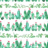 Cactus en van de slangen horizontaal naadloos waterverf patroon op witte achtergrond royalty-vrije illustratie