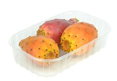 Cactus figs in a plastic retail box Royalty Free Stock Image