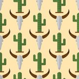 Cactus nature desert flower mexican succulent tropical plant cow skull seamless pattern cacti floral illustration. Cactus flat style nature desert flower green Stock Illustration