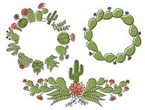 Free Cactus Floral Frame. Set Hand Drawn Outline Cactus With Flowers. Vector Color Set Cacti, Aloe And Succulent Collection Of Exotic Royalty Free Stock Photography - 183755427