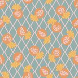 Cactus Flower on Argyle Backgound Seamless Pattern stock illustration