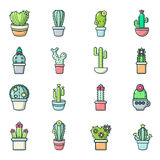 Cactus flower icons set, cartoon style Stock Image