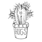 Cactus in flowerpot black and white sketch cartoon doodle vector illustration Royalty Free Stock Photo