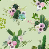 Cactus and Flowers Seamless Pattern. Exotic Tropical Summer Botanical Background. Royalty Free Stock Photography