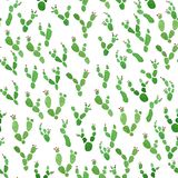 Cactus with flowers watercolor seamless surface pattern on white background. Hand drawn cactus plants with red flowers watercolor seamless surface pattern on stock illustration