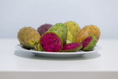 Cactus fruit. Some cactus fruis on a plate in a restaurant Royalty Free Stock Photos