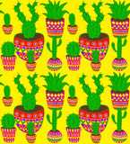 Cactus. Funky cactus seamless vector pattern in mexican style Stock Image