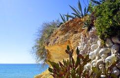 Cactus garden on Armacao De Pera Beach Royalty Free Stock Photo