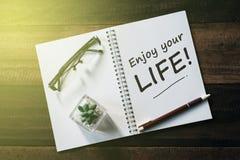 Cactus, glazen, pen en notitieboekje met ENJOY UW het LEVENSwoord op houten lijst stock foto
