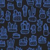 Cactus gráficos exhaustos de la mano en modelo inconsútil de la colección de los potes libre illustration