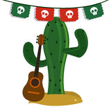 Cactus and guitar icon. Mexico culture. Vector graphic. Mexico culture concept represented by cactus with guitar icon. Colorfull and flat illustration stock photos