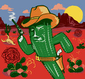 Cactus Gunslinger Royalty Free Stock Images