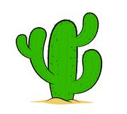Cactus, hand drawn cartoon desert plant Stock Photos