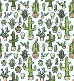 Cactus hand-drawn naadloos patroon vector illustratie