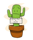 Cactus. A hand drawn vector illustration of a sad cactus which is ironically asking for a hug (nobody wants to hug a cactus, you know vector illustration
