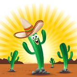 Cactus Happy Cartoon Mexico. Cute and Happy Cartoon Character representing a Cactus, Succulent Plant, on a Desert, Sunny and very Hot Landscape, on Mexico, or Royalty Free Stock Image