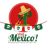 Cactus with hat icon. Mexico culture. Vector graphic. Mexico culture concept represented by cactus with hat and guitar over seal stamp. Colorfull and flat stock images