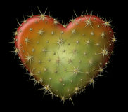 Cactus Heart. Digital illustration of a heart shaped prickly pear cactus Royalty Free Stock Photo