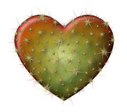 Cactus Heart. Digital illustration of a heart shaped prickly pear cactus Stock Images