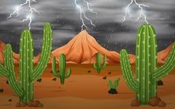 Cactus in het onweer stock illustratie